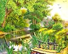 NEAR THE RIVER   beadpoint kit, stitching beads n tapestry,needlepoint   NEW
