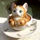 EUC 1982 Seymour Mann Porcelain Musical Kitten in Teacup-Plays Song