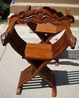 Wooden Folding Chair with carved Lion Heads on arms, BEAUTIFUL, LAST ONE!