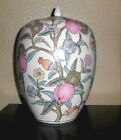 Large Scenic Asian Ginger Jar or Urn with lid  Colorful Ceramic  Great Character
