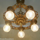 677 Vintage 20s 30s Ceiling Light lamp fixture art nouveau polychrome chandelier