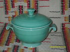 VINTAGE GREEN FIESTA COVERED ONION SOUP BOWL AND LID-RARE-FIESTAWARE           k