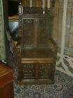 ORIGINAL ANTIQUE CARVED OAK GOTHIC HALL CHAIR/ THRONE CHAIR, FRENCH 19TH CENTURY