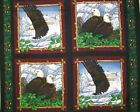 Four Animal 4 Pillows per Panel Eagle Overlook COTTON FABRIC 44/45'' x 35''