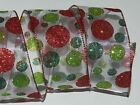 25 ft White Sheer Red Green Neon Glitter Circles Dot Wired Ribbon Bow Christmas