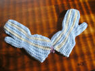 Hand Knit Mittens, new, light blue with ivory stripes
