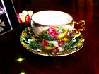 ROYAL SEALY 3 FOOTED TEACUP LEAF HANDLE FRUIT IRIDESCENT LATTICE CUP AND SAUCER