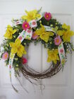 DAFFODIL SPRING Summer Mother's Day Gift Pink Yellow Handmade Door Wreath