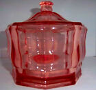 Vintage Pink Octagonal Depression Glass Candy Dish With Lid