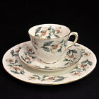 Crown Staffordshire TRIO CUP SAUCER & PLATE 1930-1974 WILD ROSE GOLD White Green