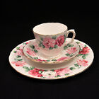 Crown Staffordshire TRIO CUP SAUCER & PLATE 1930-1974 TRINITY ROSE PINK GOLD HTF