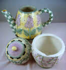 Debbie Mumm Lavender Tea Garden Creamer Sugar Bowl with Lid Sakura Set Flowers