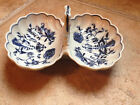 BLUE DANUBE ONION BLUE WHITE SHELL DOUBLE SALT OPEN DIP HANDLE DISH