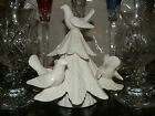 FITZ & FLOYD CHRISTMAS TREE CANDLE HOLDER WITH DOVES ~GR FOR CHRISTMAS