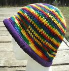Colorful Crocheted Cloche Hat with a Purple Velvet Brim - Handmade by Michaela