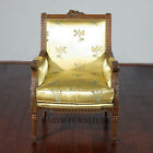 Vintage Hand Carved Solid Walnut Arm Chair w/ Yellow Floral Fabric Upholstery D