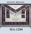 Masonic Hand Embroidery Past Master Apron Purple Silver  with Fringe