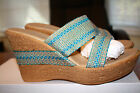 BRAND NEW Onex Africa 4in Wedge Heel Sandal Womens Size 11 Turquoise