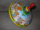 LBZ Germany Tin Litho Spinning Top Wooden Handle Bears & Bunnies For Boys Girls