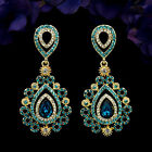 18K Gold Plated GP Blue Crystal Rhinestone Drop Chandelier Dangle Earrings 5996