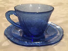Royal Lace Cobalt Blue Depression Glass Cups (4) and Saucers (4)