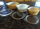 3 Vintage Pyrex Gold and White Butterfly Nesting Mixing Bowls Cinderella w/lids!