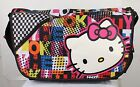 "Hello Kitt Face Messenger Bag FULL SIZE > Girls BookBag 》 with 15"" laptop Sleeve"