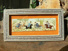 B4227 Persian Miniature Hand Painted Painting on Camel Bone w Mosiac Frame