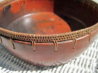 Antique African Mexican? Handmade Wicker Weaved Edge Clay Pottery Bowl
