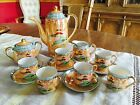 Vintage Japanese China Tea Set Asian Porcelain Hand Painted Multi Color Post