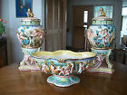 Antique / Vintage Capodimonte Italy Hand Painted, 2 Covered Urns / 1 Large Bowl