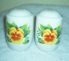 Vintage Corelle Jay Imports Salt & Pepper Shakers Summer Blush Ptn Pansy Nice!!