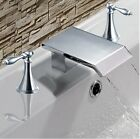 Chrome Brass Two Handle Waterfall Bathroom Sink Faucet Widespread Mixer Tap