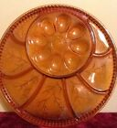 Vtg Indiana Glass Amber Divided Deviled Egg Relish Dish Plate Serving Platter