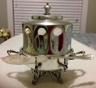 Vintage Quad SilverPlate Round Covered  Footed Handled Butter Dish And Knife