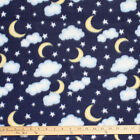 Stars Moons  Clouds On Blue Polar Fleece Fabric BY THE YARD