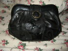 Vtg Sharif Black  Leather Clutch Shoulder Bag Lizard Textured Hinged Frame Purse