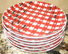 NEW Pier 1 Gingham Red & White Check with Ants Set of 6 Appetizer Dessert Plates