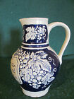 VINTAGE GERMAN COBALT BLUE & GRAY POTTERY PITCHER/ NICE GLOSS