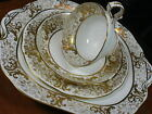 HAMMERSLEY  FANCY TEA CUP AND SAUCER TRIO WITH CAKE PLATE LUSH GOLD CHINTZ 1905