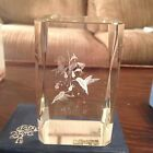 Gorgeous Hummingbird catching Nectar Crystal 3D Laser Etched Cube Paperweight