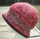 Stylish Red/Purple Mix with White Crocheted Cloche - Handmade by Michaela