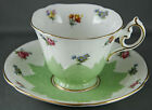 Paragon Bone China Tea Cup and Saucer Embossed Green with Mini Roses Viole