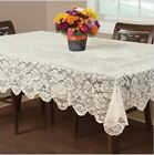 Essential Home Buckingham Lace Tablecloth Ivory 60x102 Table Liens Dining Guest