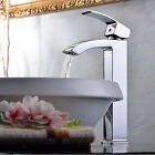 Tall Elegant Single Handle Brass Waterfall Bathroom Sink Vessel Faucet Chrome