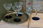 Vintage Etched Glass Cobalt Blue Champagne Coupe Cocktail Martini Glasses