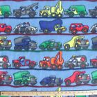 Construction Trucks  Vehicles On Blue Polar Fleece Fabric BY THE YARD