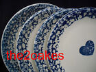 4 Tienshan Folk Craft Sponge Blue Hearts Dinner Plates