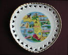 Vintage FLORIDA STATE Souvenir Reticulated HEART Plate Map Made in JAPAN