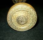 Pr ANTIQUE ORNATE BRASS DOOR KNOBS w/Spindle Matching Victorian Rosette HEAVY